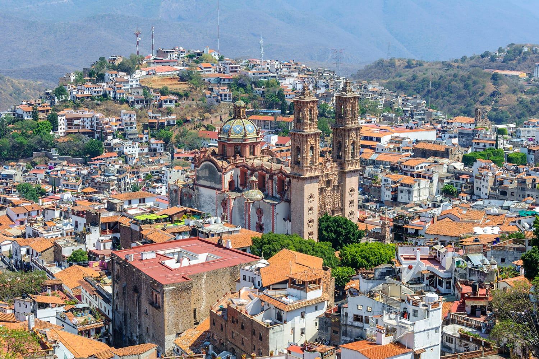 Aerial view of Taxco de Alarcon city, Guerrero, Mexico