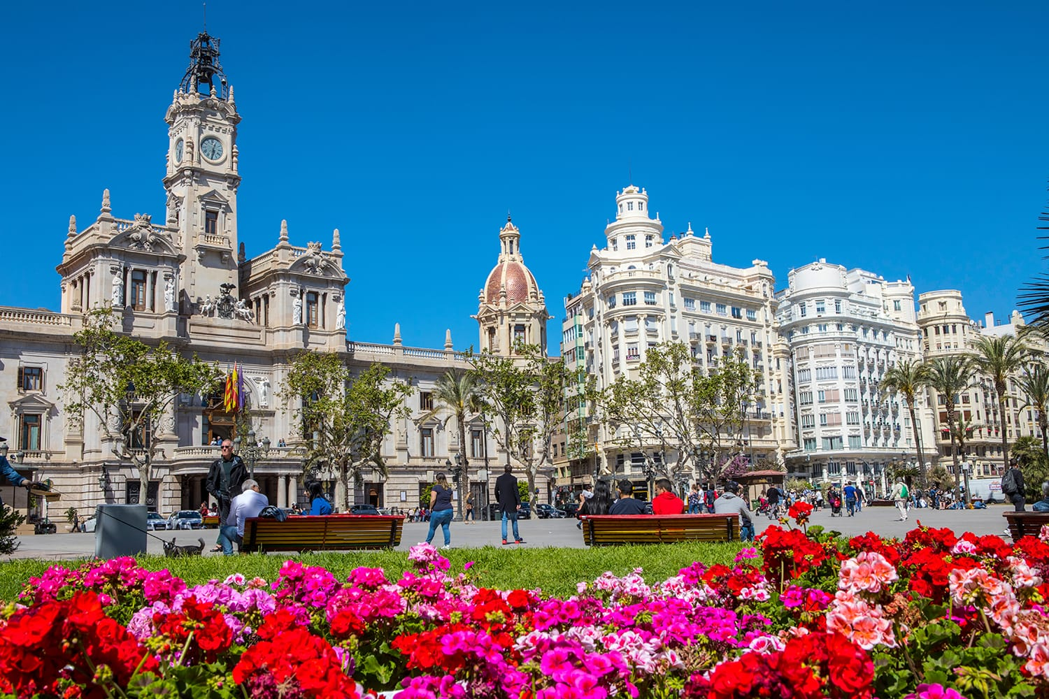 A view of the Town Hall Square, also known as Placa de l'Ajuntament, in the city of Valencia, Spain.