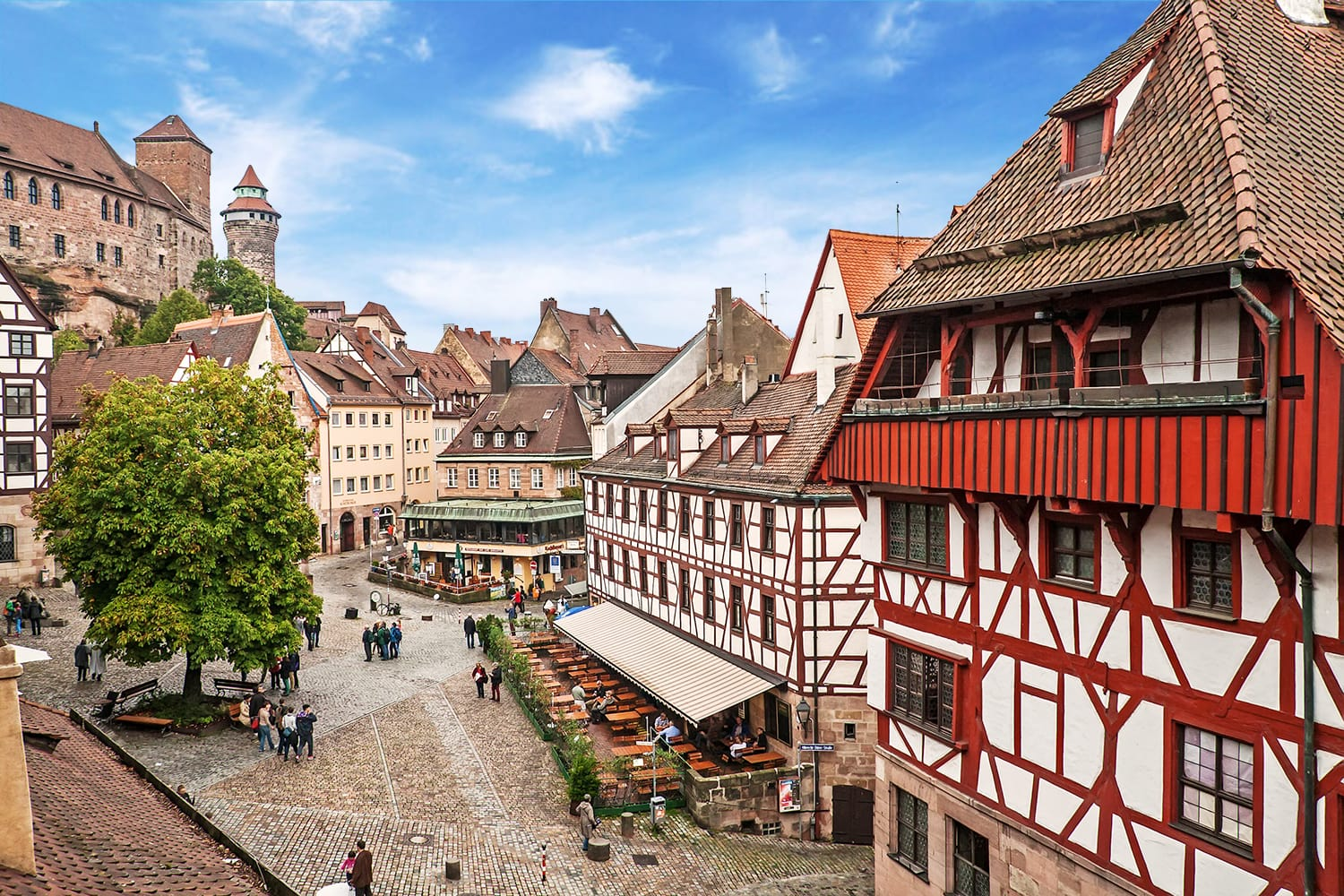 Cityscape of Nuremberg from city wall, Germany