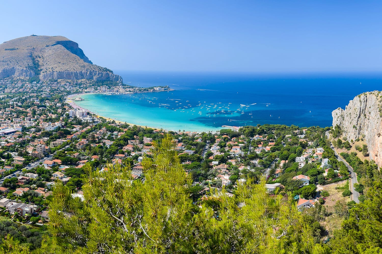 View of the gulf of Mondello from Monte Pellegrino, Palermo, Sicily, Italy.