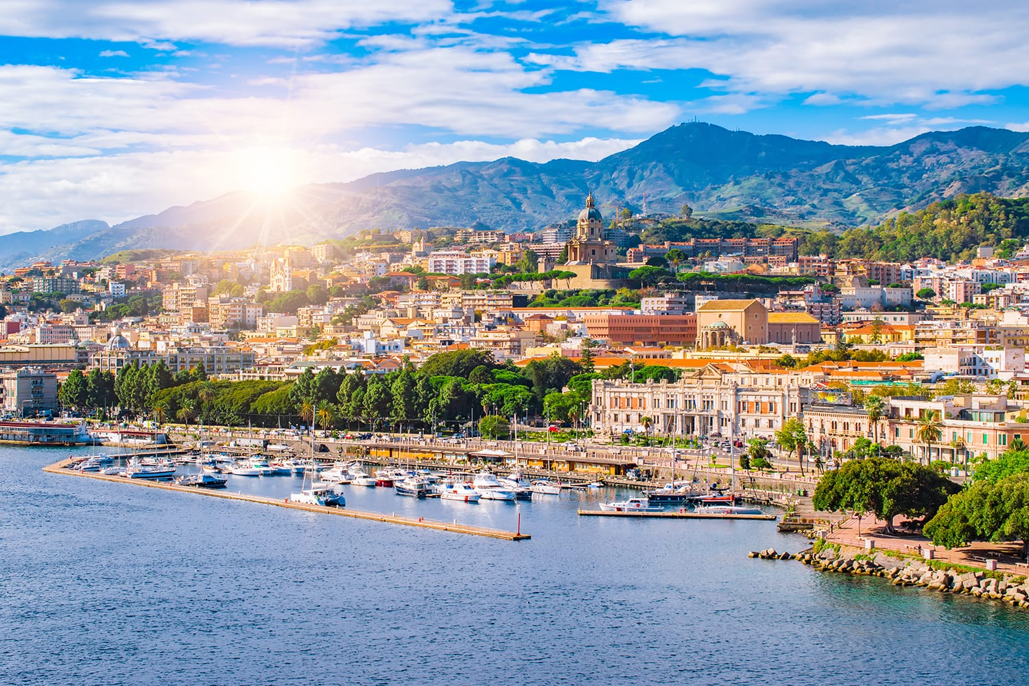 Beautiful cityscape and harbor of Messina, Sicily, Italy