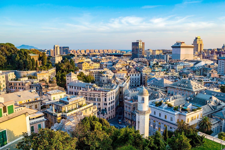 Genoa aerial cityscape as seen from Spianata Castelletto