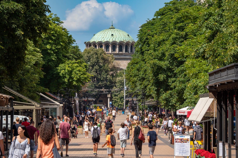 The busy pedestrianised street of Vitosha Boulevard in Sofia, Bulgaria