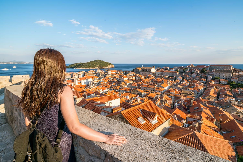 Woman traveller at Dubrovnik Old Town, in Dalmatia, Croatia