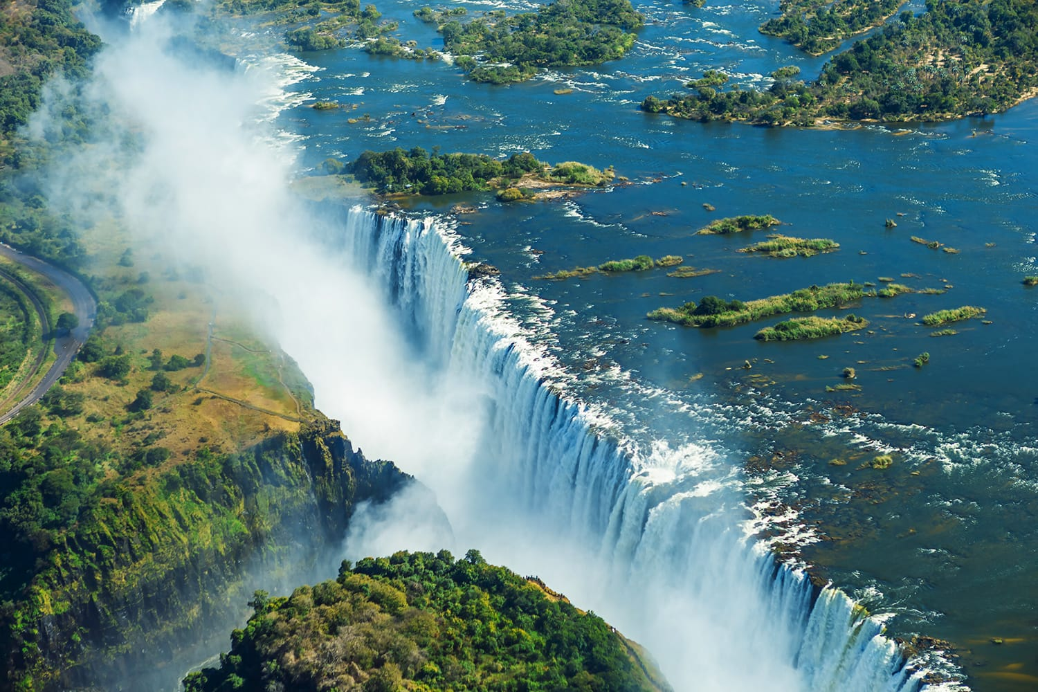 Aerial view of Victoria Falls in Zambia and Zimbabwe, Africa