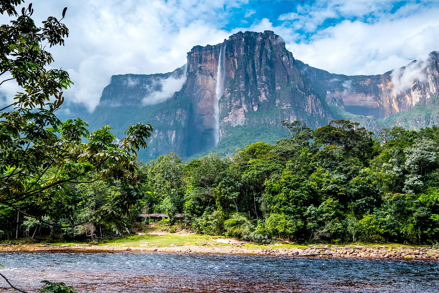 Angel Falls from afar, Colors of Canaima National Park, Venezuela