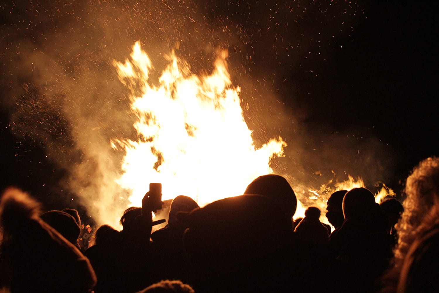 Bon fire on New Years Eve in Reykjavik, Iceland