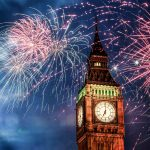 Fireworks on New Years Eve in front of Big Ben, London, UK