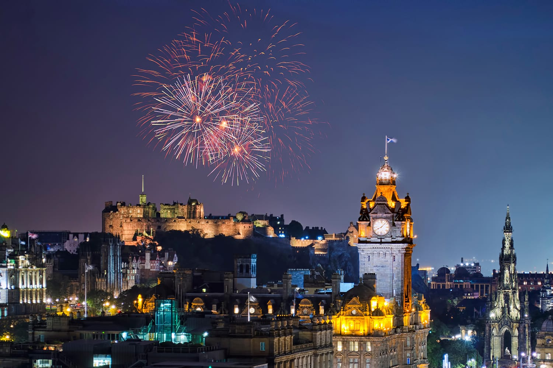 Fireworks on New Years Eve in Edinburgh, UK