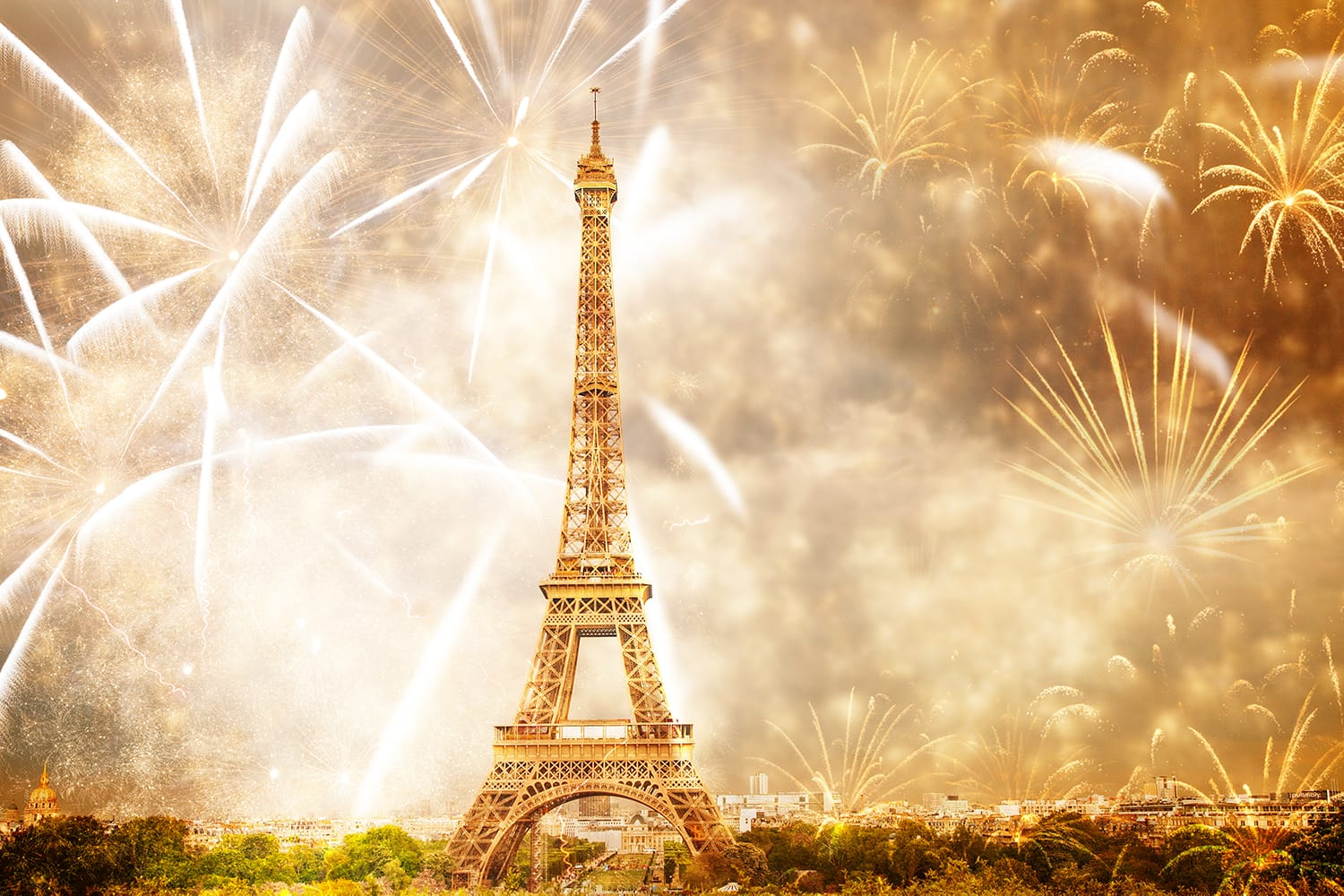 Fireworks on New Years Eve in front of Eiffel Tower in Paris, France