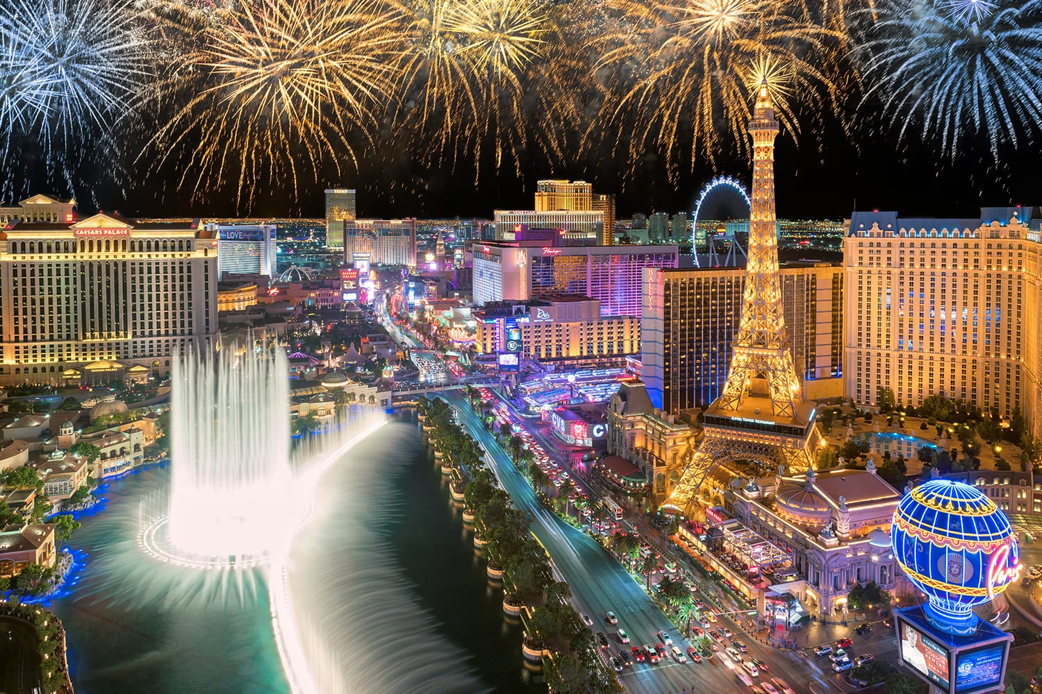 Fireworks on New Years Eve in Las Vegas, Nevada, USA