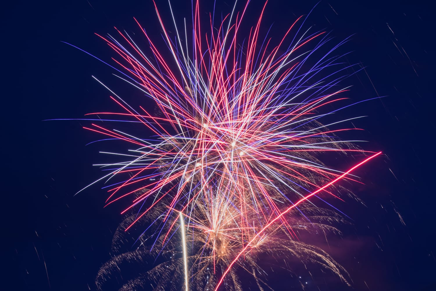 Fireworks explode over the Tchefuncte River at Madisonville, Louisiana
