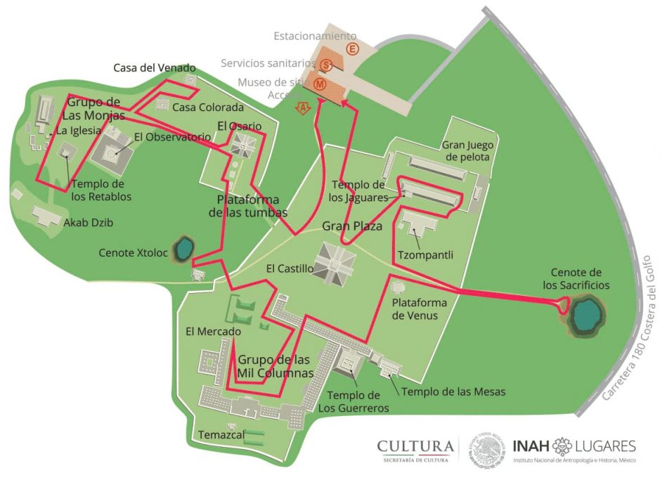 Map of Chichen Itza in Mexico