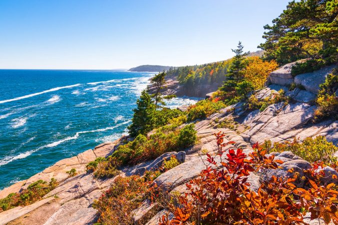 View of the Maine coastline at Acadia National park, USA