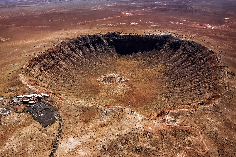 Aerial view of the Meteor Crater Natural Landmark in Arizona