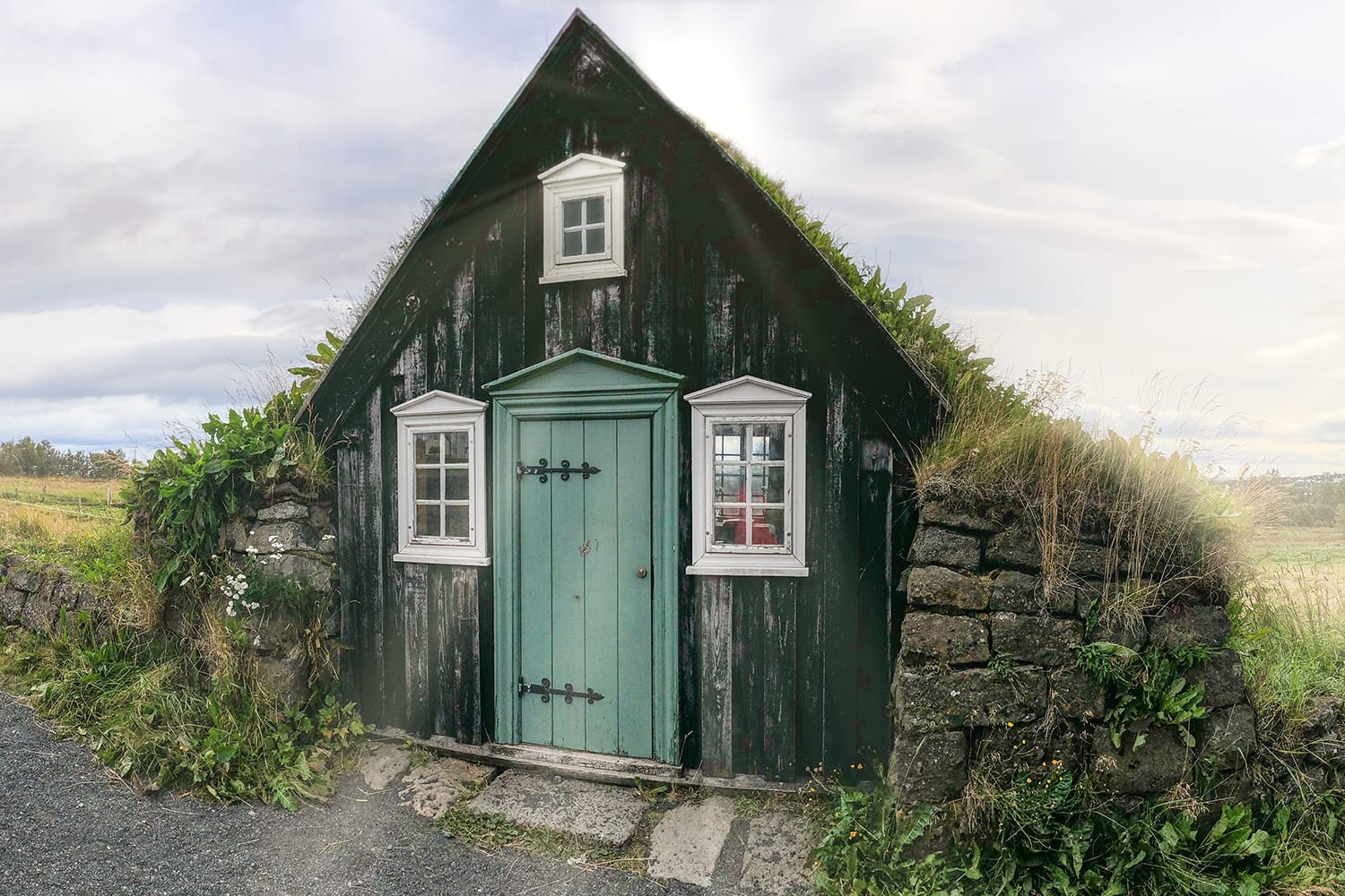Arbaer Open Air Museum with classic Icelandic Wooden Houses.
