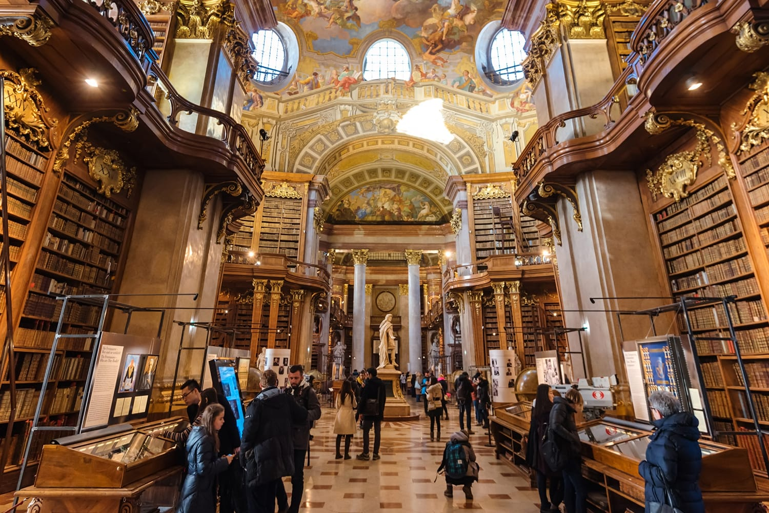 Interior of Austrian National Library - old baroque library of Hapsburg empire located in Hofburg Palace in Vienna, Austria