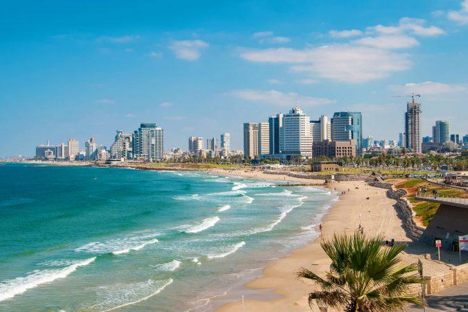 Beach and skyline in Tel Aviv, Israel