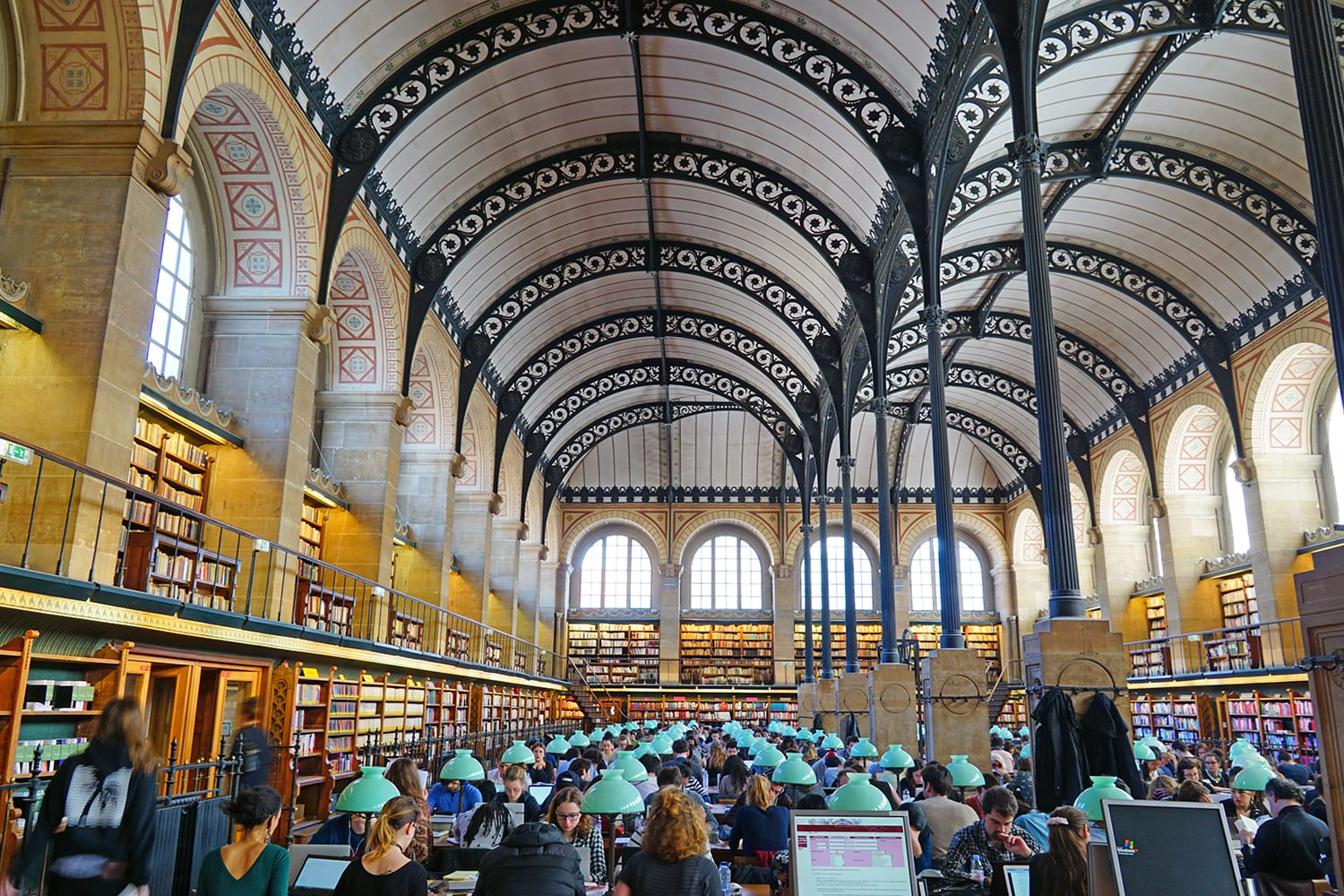 The Bibliotheque Sainte-Genevieve is a landmark public library in the fifth arrondissement of Paris, France