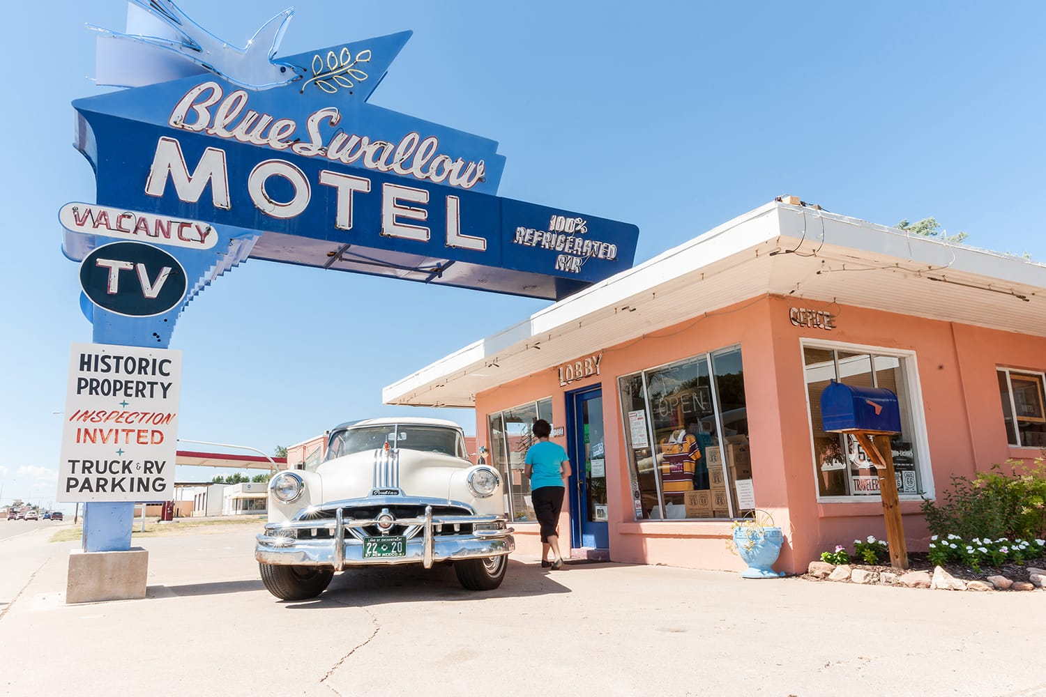 Blue Swallow Motel on Route 66 in New Mexico, USA
