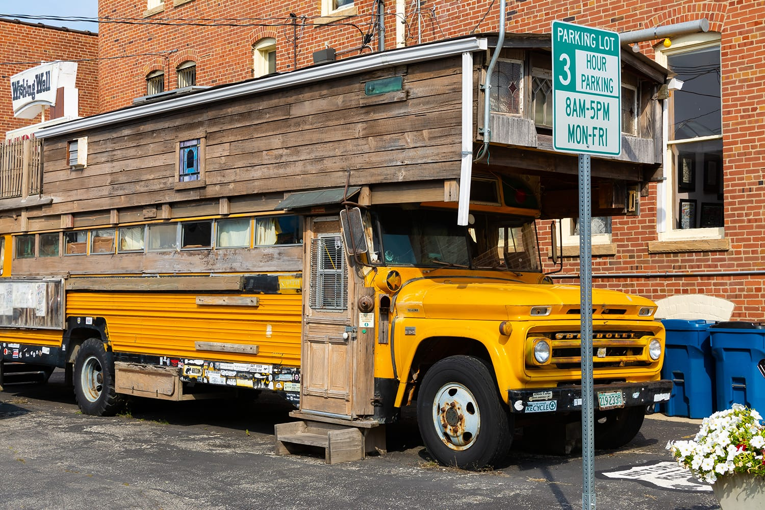 Bob Waldmire's School Bus parked at the Route 66 museum in Pontiac, Illinois, USA