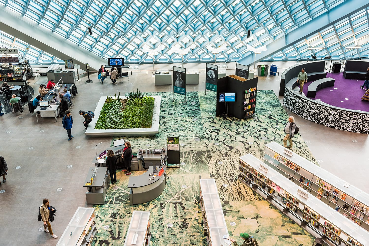 Aerial view of main floor of the public Central Library in Seattle, USA