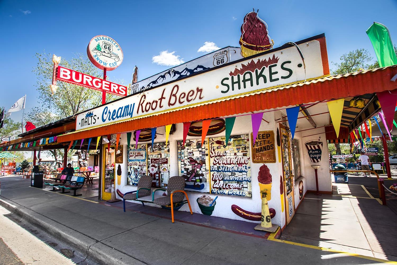Landmark Delgadillo's Snow Cap Drive-in eatery and roadside attraction located along Route 66 in Seligman, Arizona
