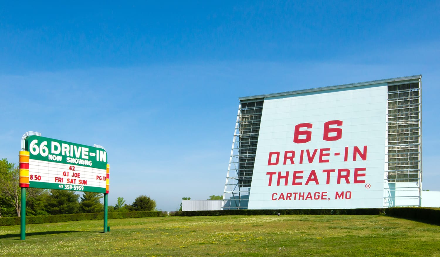 Historic 66 Drive-in Theatre and neon sign, on Route 66 in Carthage, Missouri