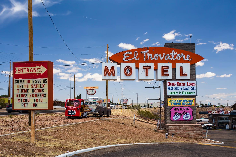 Route 66 landmark El Trovatore motel in Kingman Arizona