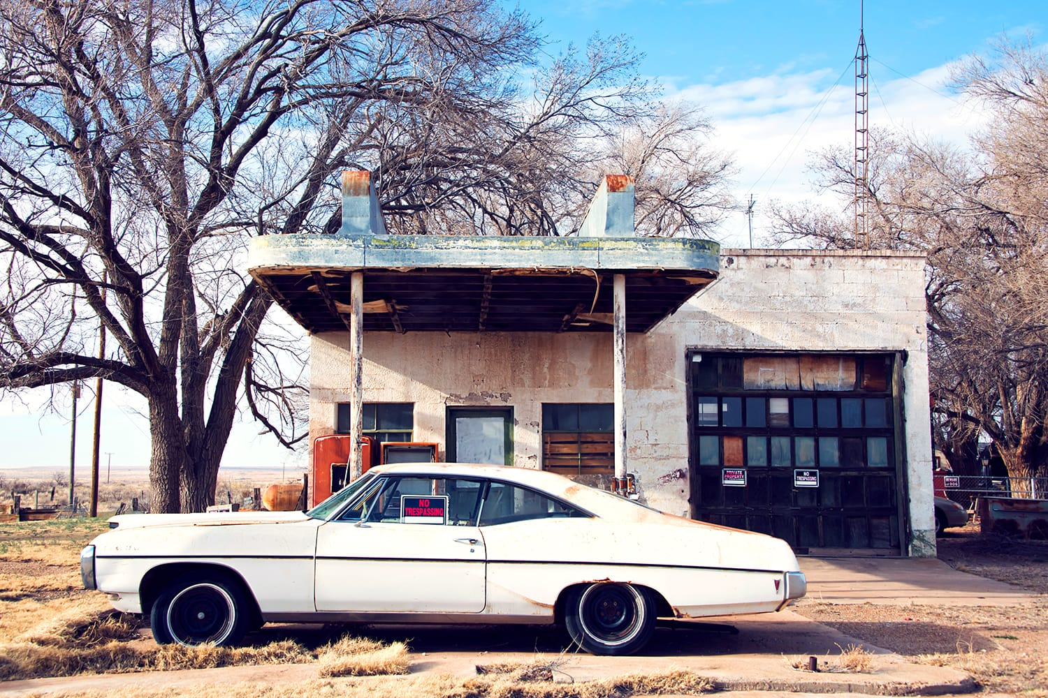 Ghost town on Route 66. Closed cafe and gas station in Glenrio, Texas, USA