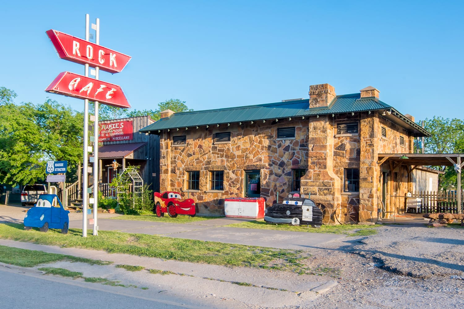 Historic Rock Cafe and neon sign, on Route 66 in Stroud, Oklahoma
