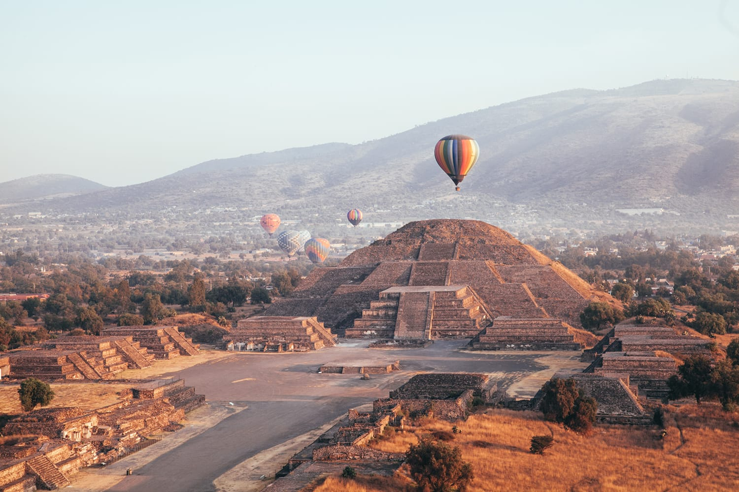 Hot Air Ballons over Teotihuacan, near Mexico City in Mexico