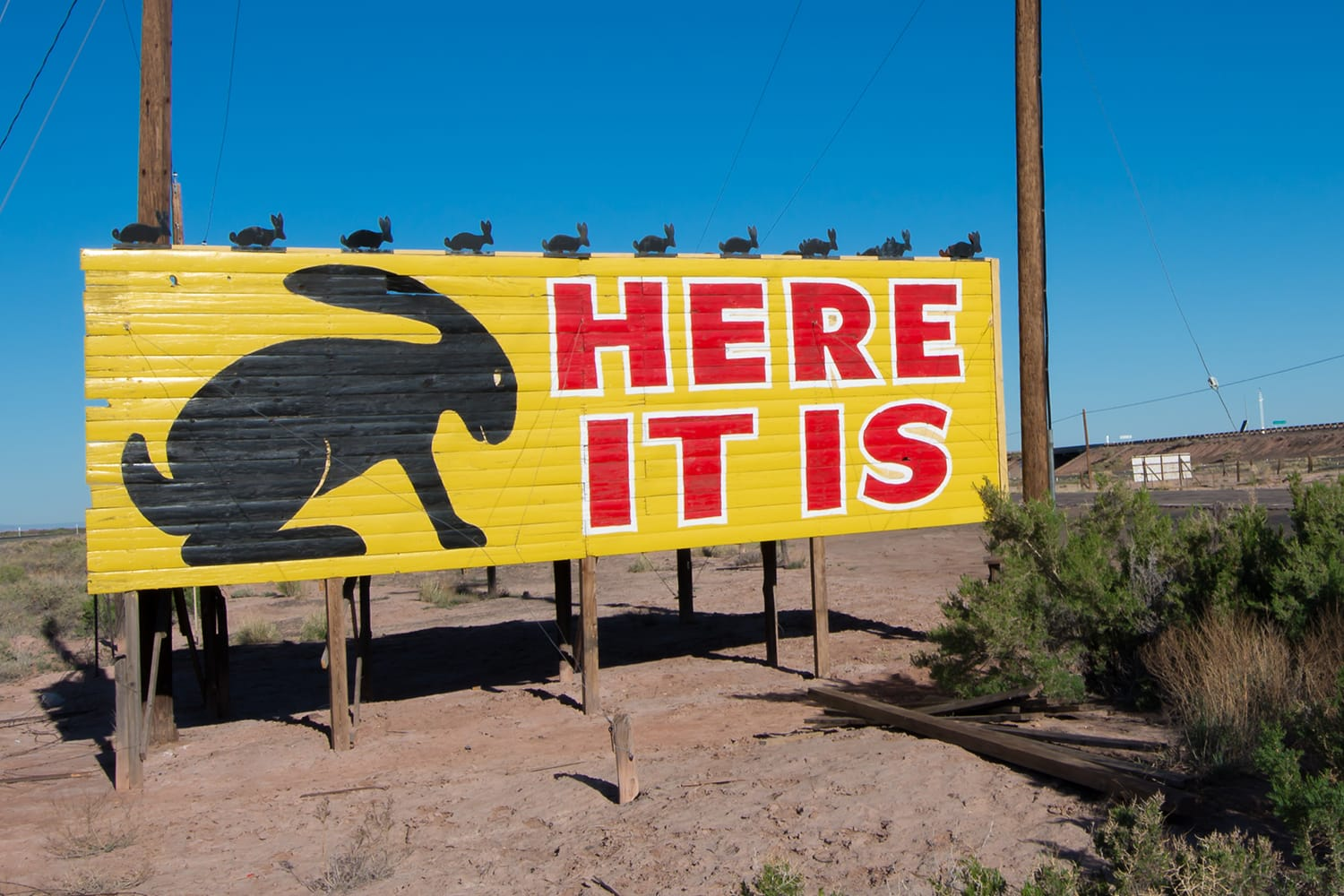 """Iconic Jack Rabbit Trading Post's """"Here It Is"""" sign on Route 66, in Joseph City, Arizona."""