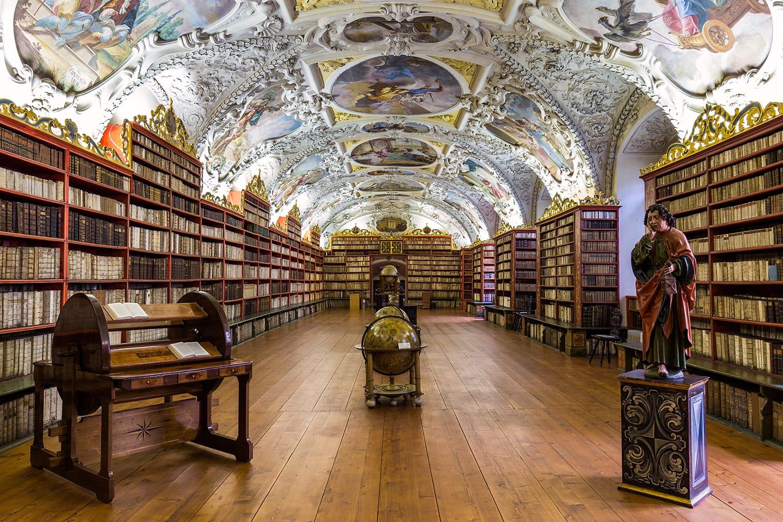 Historical library of Strahov Monastery in Prague, Czechia