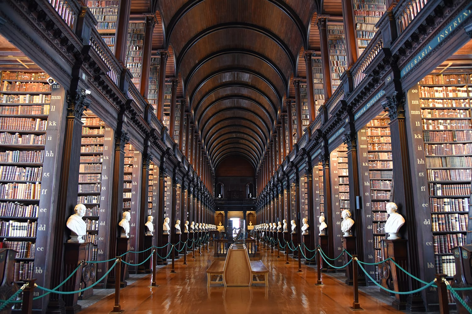 The Long Room in the Old Library at Trinity College Dublin.