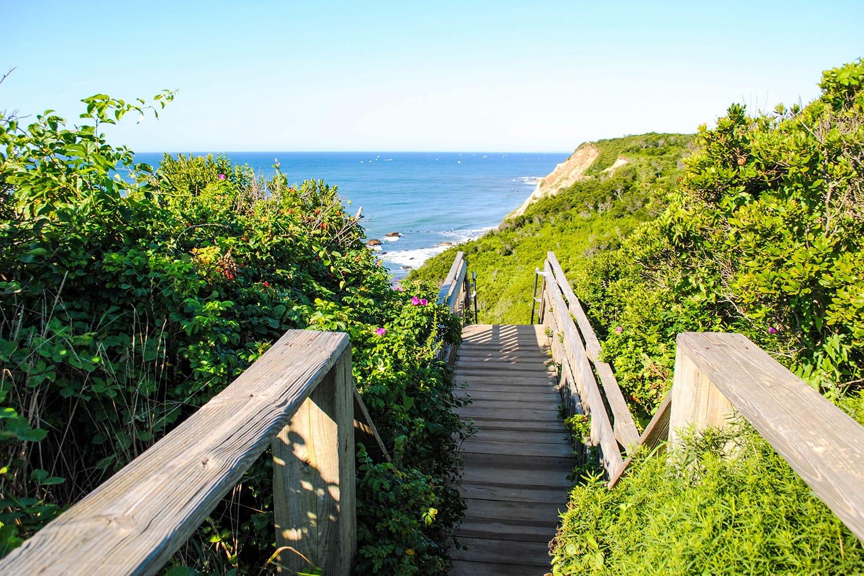 Mohegan Bluffs on Block Island in Rhode Island, USA