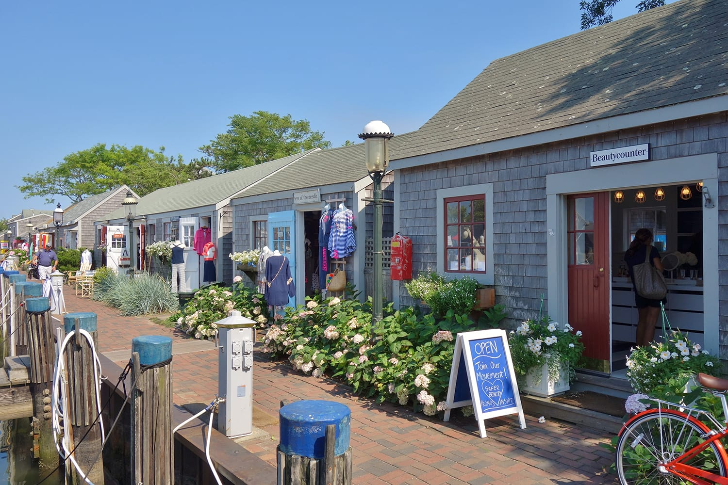Traditional New England buildings and stores on Nantucket Island in Massachusetts, USA