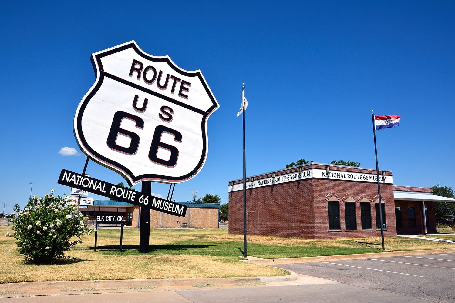 The biggest Route US 66 sign by the National Route 66 Museum in Elk City, Oklahoma