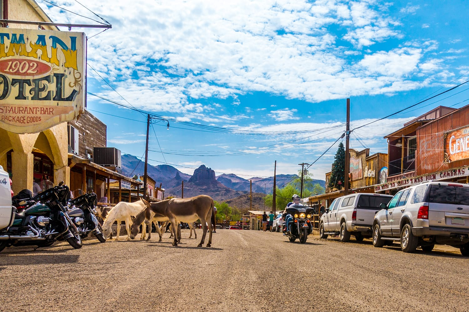 Panoramic view of Oatman - a historic ghost town in Arizona, USA