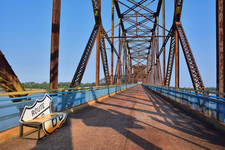 Old Chain of Rocks bridge on the Mississippi river, Granite City, Illinois
