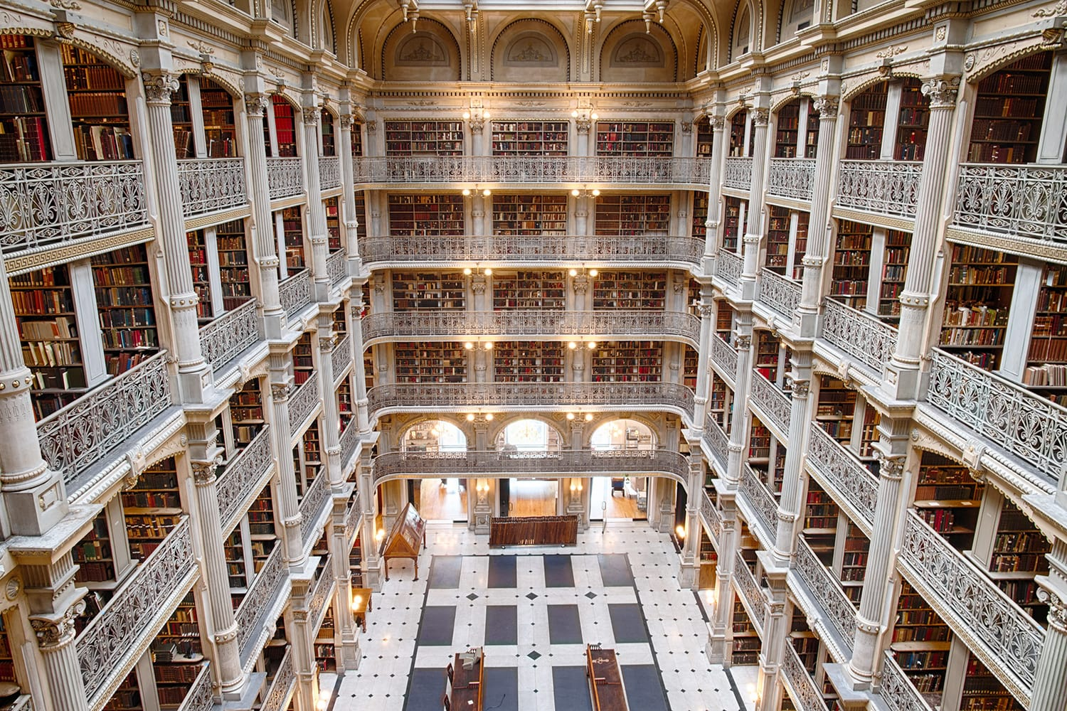 Bookshelf inside Peabody Library a research library for John Hopkins University in Baltimore, USA