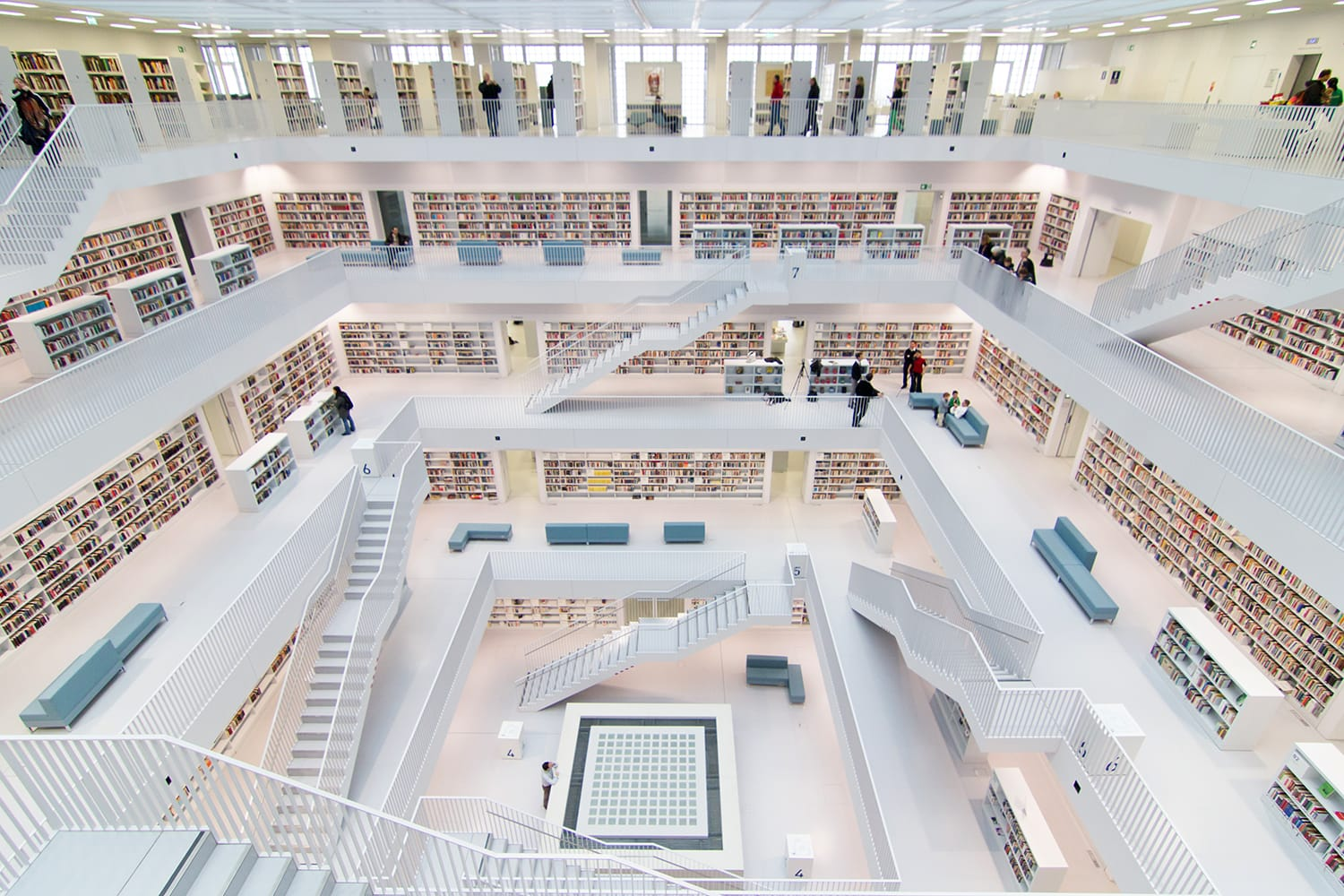 Interior of new public library in Stuttgart, Germany