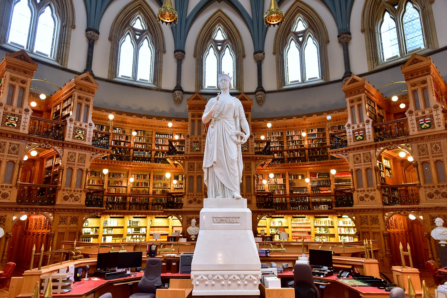 Queen Victoria in the Main Reading Room of the Library of Parliament on Parliament Hill in Ottawa, Ontario.