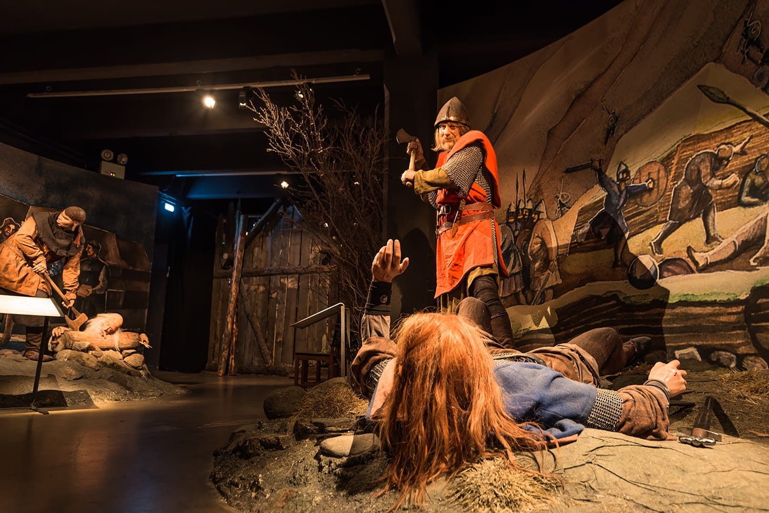 Sculptures from the Viking age in the Saga Museum in Reykjavik, Iceland
