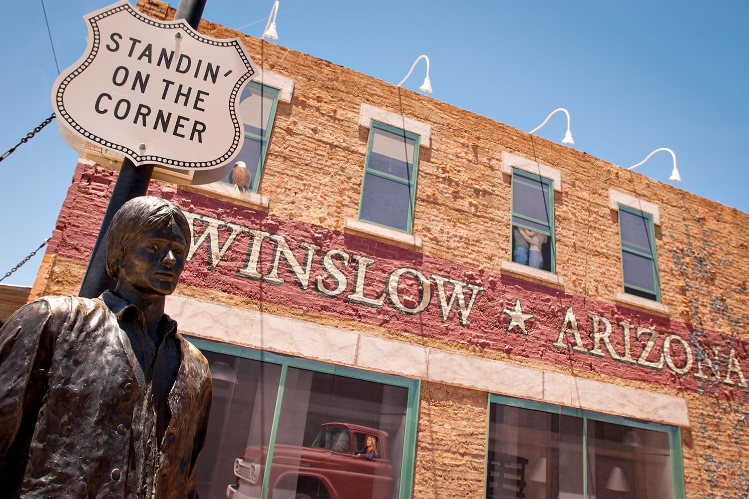 """""""Standin' On The Corner Park"""", pays homage to """"Take It Easy"""" a song written by Jackson Browne and popularized by the rock group Eagles, in Winslow, AZ."""