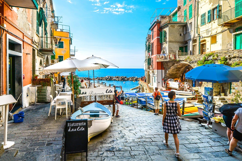 Street in Riomaggiore, Cinque Terre, Italy