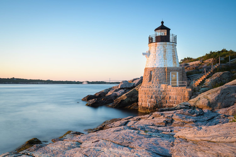 Sunset at Castle Hill Lighthouse on Newport, Rhode Island, USA