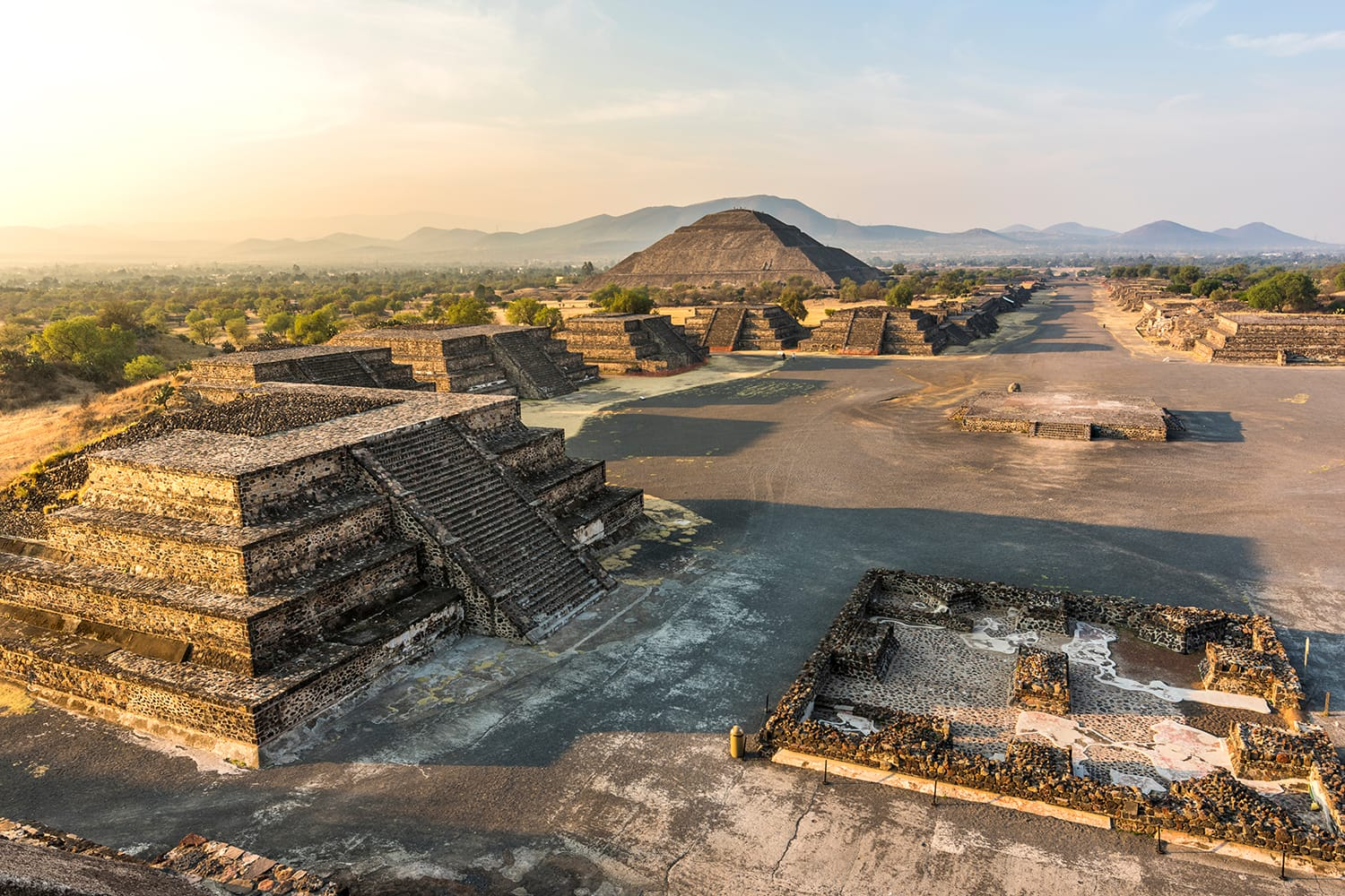 Aerial view of Teotihuacan, near Mexico City in Mexico