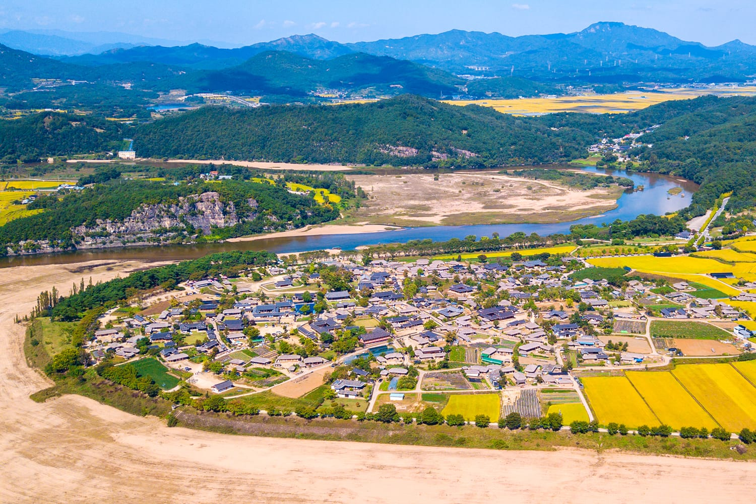 Aerial view of Andong, Hahoe Village in South Korea