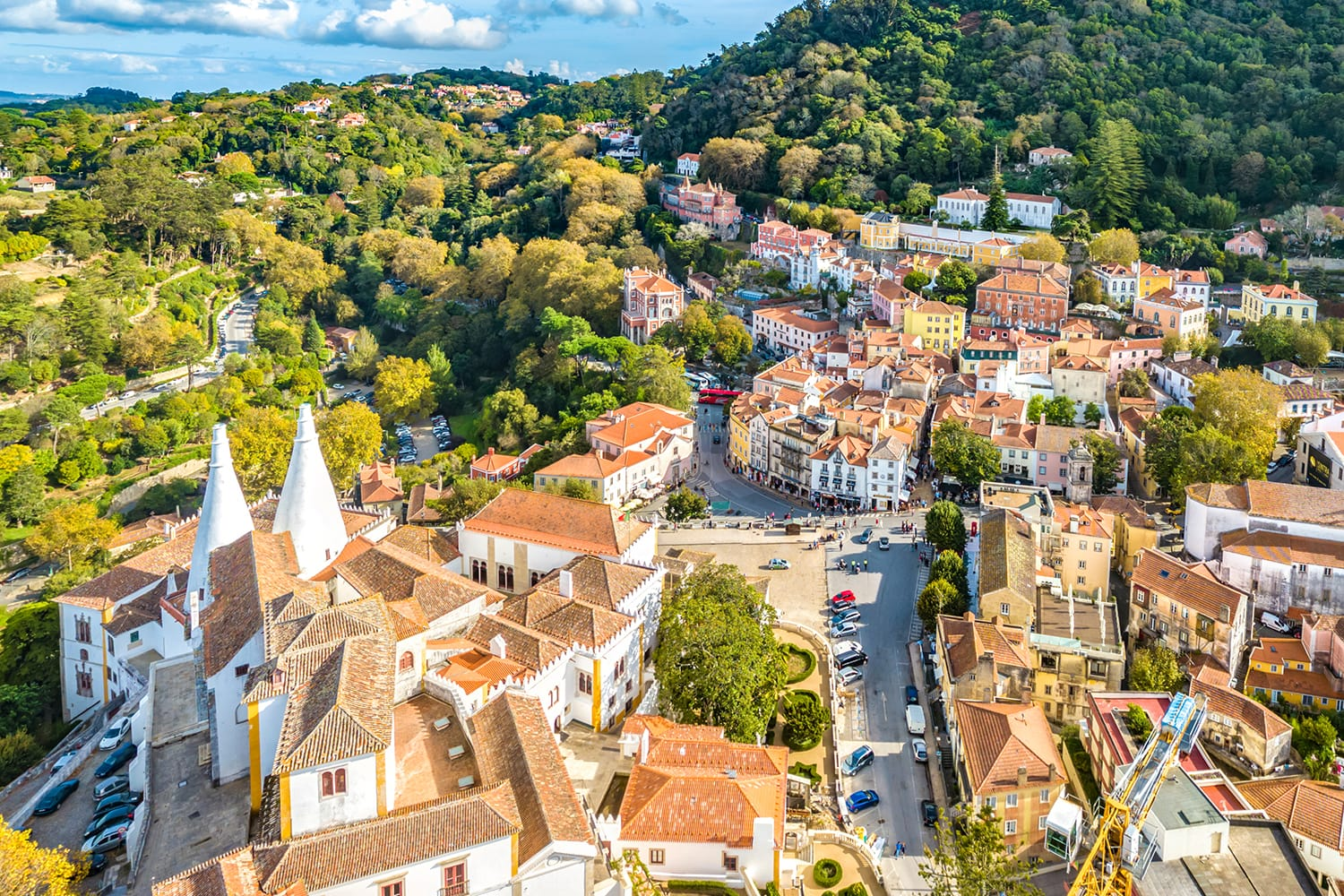 Aerial View of The Palace of Sintra, also called Sintra National Palace, in the Town of Sintra, Portugal